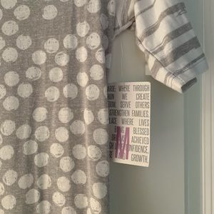 Lularoe Grey Dot / Stripe Julia Dress